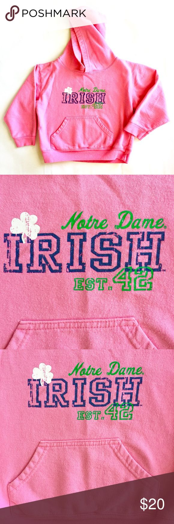 "EUC Notre Dame IRISH Pink Hoodie in Girls' 5/6T This Notre Dame IRISH Pink Hoodie in Girls' Size 5/6 is adorable and in excellent used condition.  Perfect for your little leprechaun, she can ""cheer cheer"" in style AND femininity, without bookstore prices!  This is an official piece, purchased at the Hammes bookstore. College Kids Shirts & Tops Sweatshirts & Hoodies"