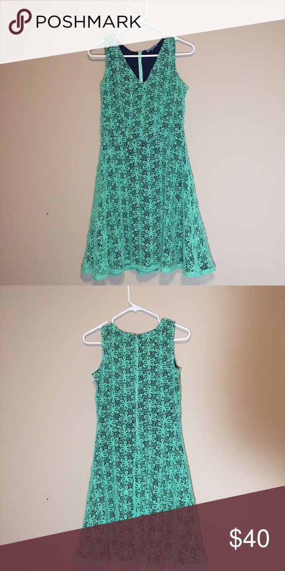 Light Green Dress Beautiful flower design with a silk inside, very comfortable. Worn once. Cynthia Rowley Dresses