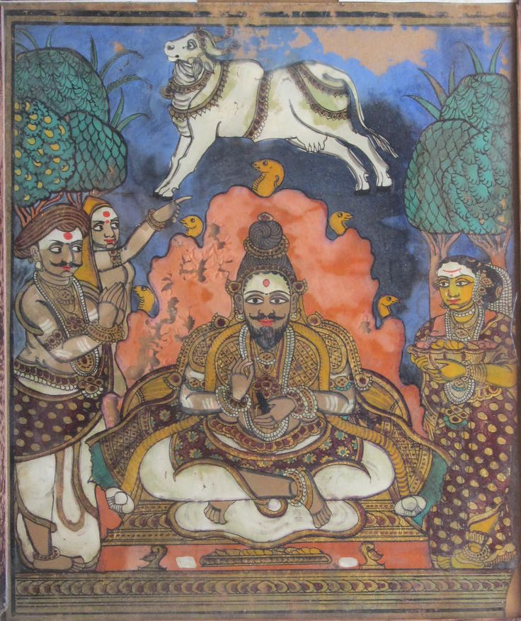 Yadiyooru Siddalingeshwara meditating in an anthill teeming with snakes and flanked by devotees. Mysore painting. Circa- 20th century.