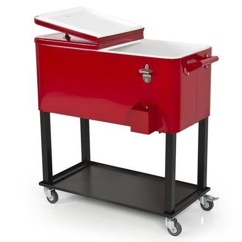 This cooler cart may be exactly what youve been looking for to add beauty, style and functionality to your patio, back yard or outdoor entertainment area. It can be perfect for any small space, or to accent a larger space. It features a hardened powder coat finish for years of beauty, two wheel locks, bottle opener, a cap catch and a rear drain for easy clean up.