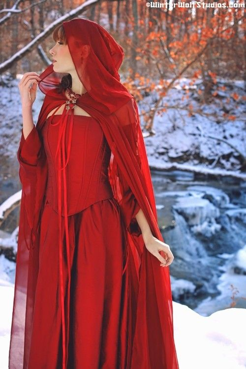 Medieval Corset Gown and Cap $1,125    [crazy amount of money, but so gorgeous.. and red...]