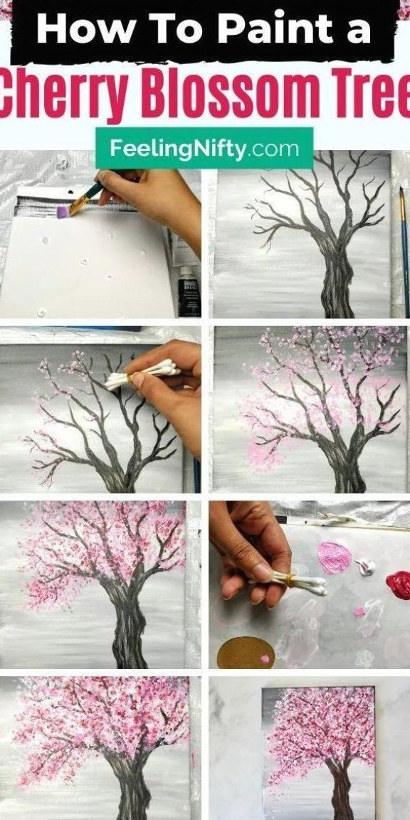 5 Cherry Blossom Scenery Paintings For Beginners Easy Painting Ideas Scenery Paintings Cherry Blossom Painting Acrylic Cherry Blossom Painting