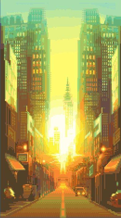 City Sunrise. #pixelart #pixel #city #sunrise