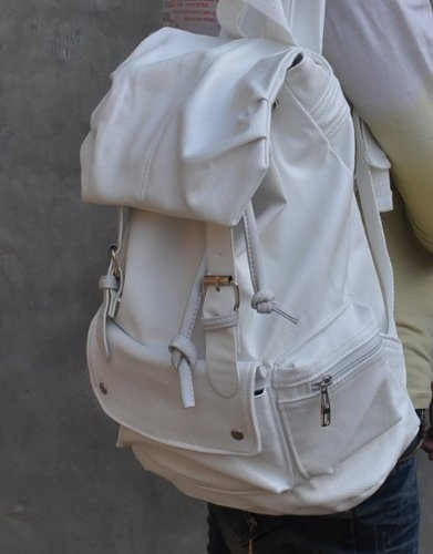 White PU Leather-like Material Backpack School « Clothing Impulse