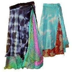Two-Layer Sari Material Wrap Skirt