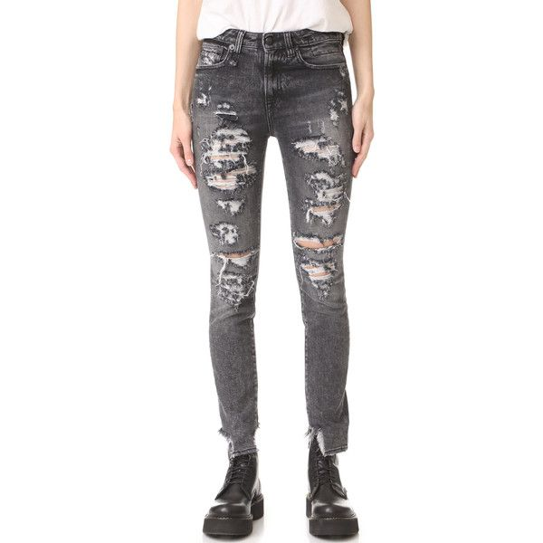 R13 Jenny Mid Rise Skinny Jeans ($215) ❤ liked on Polyvore featuring jeans, shredded grey, cuffed jeans, skinny jeans, skinny fit denim jeans, cuffed skinny jeans and gray skinny jeans