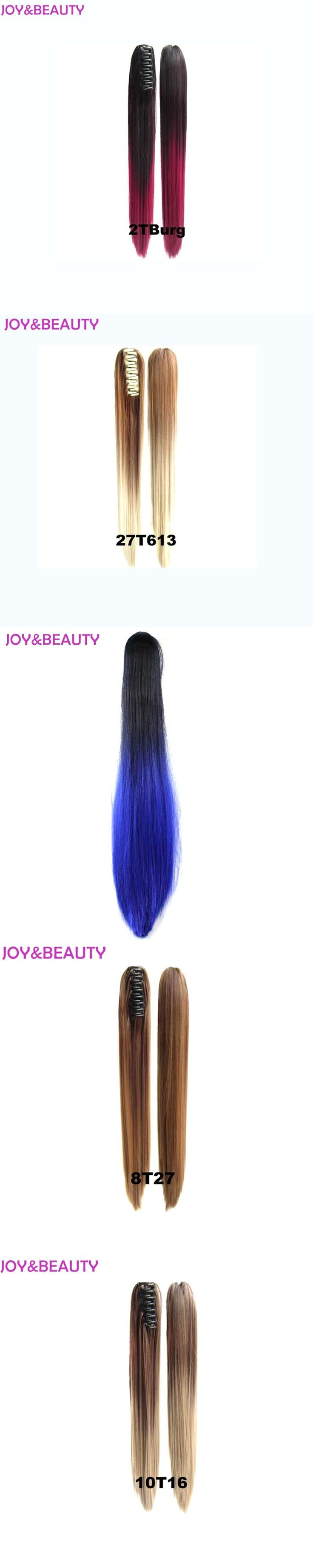JOY&BEAUTY Hair Long Straight Ponytail Synthetic 24incClip On Hair Extensions High Temperature Fiber Ponytail Ombre Color