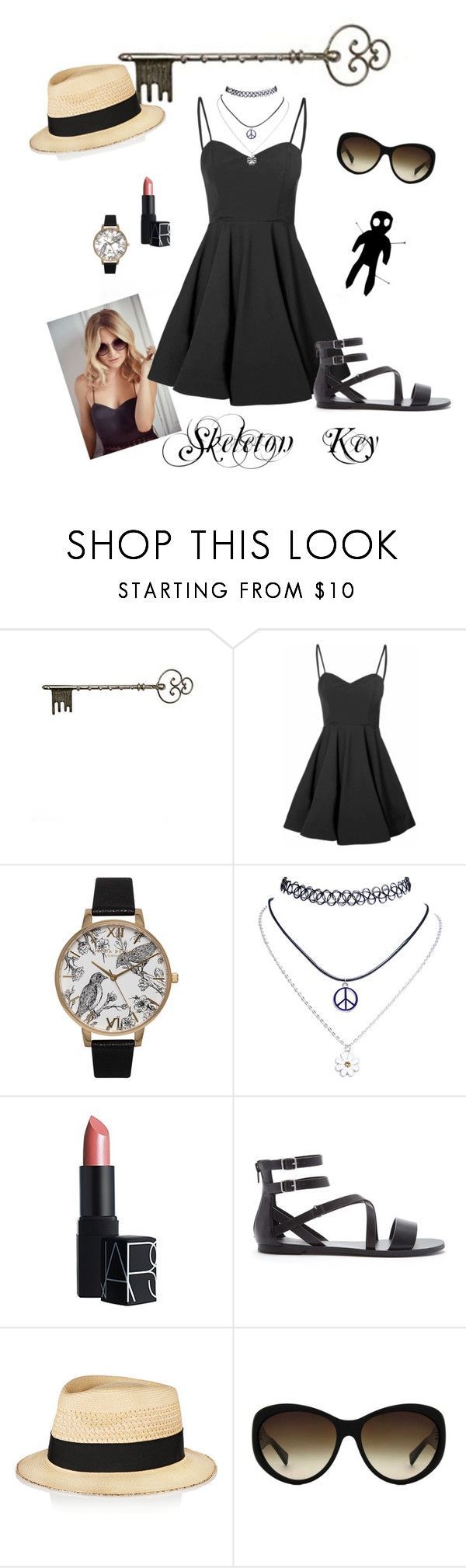 """Skeleton Key"" by polka-dot-pearl on Polyvore featuring Jimmy Choo, Glamorous, Olivia Burton, NARS Cosmetics, Forever 21, Eugenia Kim, Michael Kors, women's clothing, women's fashion and women"