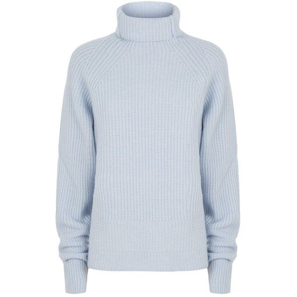 Maje Knitted Roll Neck Jumper ($190) ❤ liked on Polyvore featuring tops, sweaters, blue sweater, rollneck sweaters, roll neck jumper, chunky knit sweater and wool sweaters