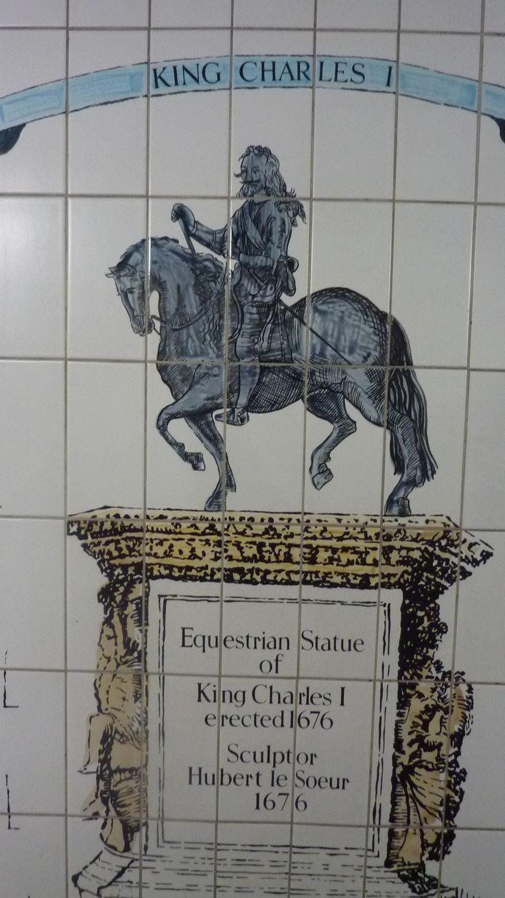 Painted tiles in London Underground near Trafalgar square