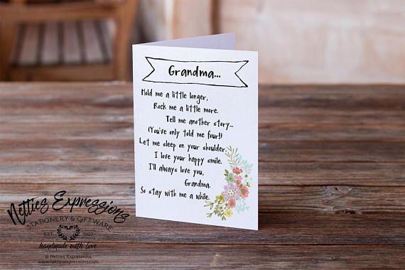 Grandma hold me a little longer Birthday Card Happy