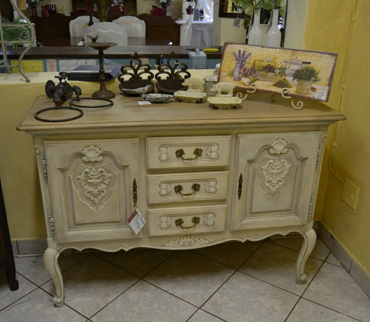 Small Vintage Server in a Cream Chalk paint finish