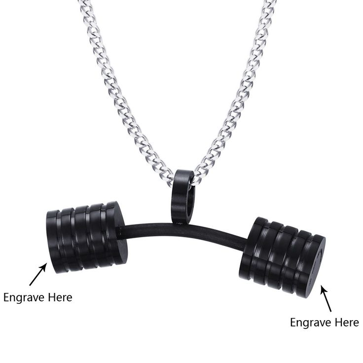 Personalized Engrave Barbell Black Men Stainless Steel  Dumbbell Fitness Gym Necklace Chain Bodybuilding Necklace & Pendants