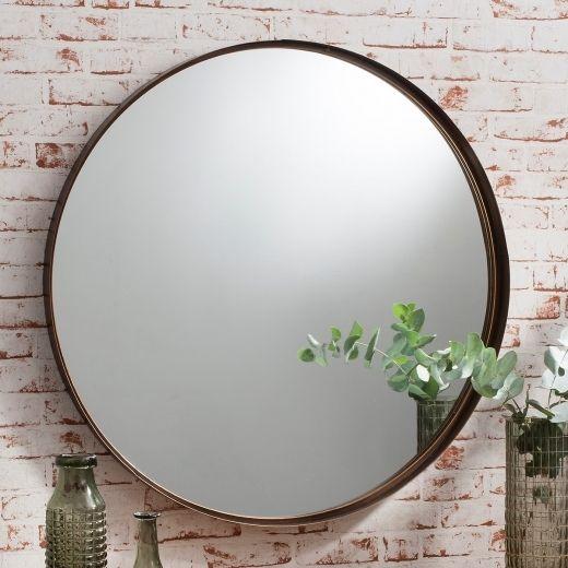 Harper Round Wall Mirror, Bronze