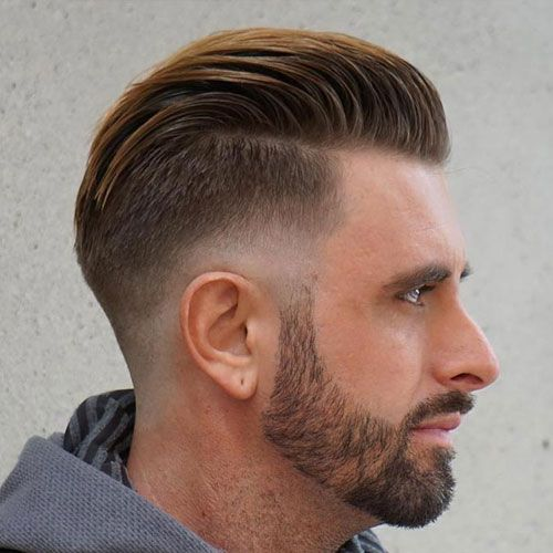 Low Drop Fade with Slicked Back Hair