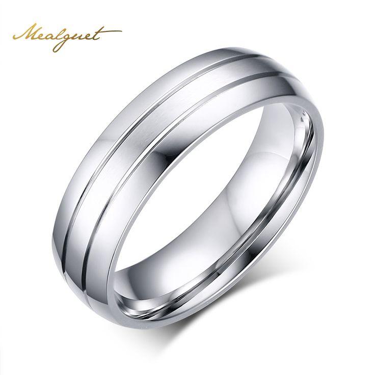 Meaeguet anelli dell'acciaio inossidabile di modo di disegno semplice degli uomini anelli di nozze usa dimensione 6-13