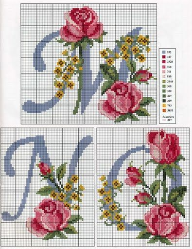 Cross stitch rose alphabet <3