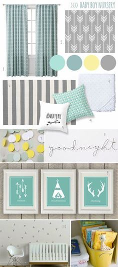 Here is nursery colors. And theme. Teal , yellow, gray. Then adventure theme.
