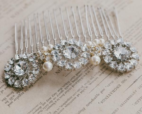 Wedding Hair Combs - Crystal Encrusted, Pearl Bridal Hair Comb, Paula