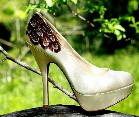 pearl heels with feather detail