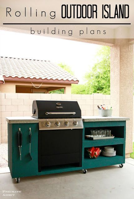 Learn how to build your own rolling outdoor grill island.
