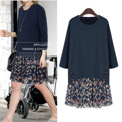Plus Size L-5XL Autumn Floral Dress Women Patchwork Slit Loose Dress For Big Women Lined Vestidos feminino D51137