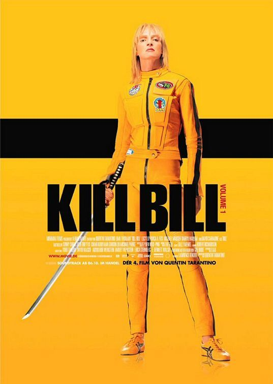 KILL BILL: Volume 1.  Quentin Tarantino  2003.  Uma Thurman, David Carradine, Daryl Hannah, Lucy Liu, Michael Madsen.  The score by Robert Rodriguez in both films is perfect; I love how she wiggles her toes to get her body moving again. Just how many ways are there to kill quantities of people with a sword - Uma knows them all in the most gracefully athletic manner. Heads roll.