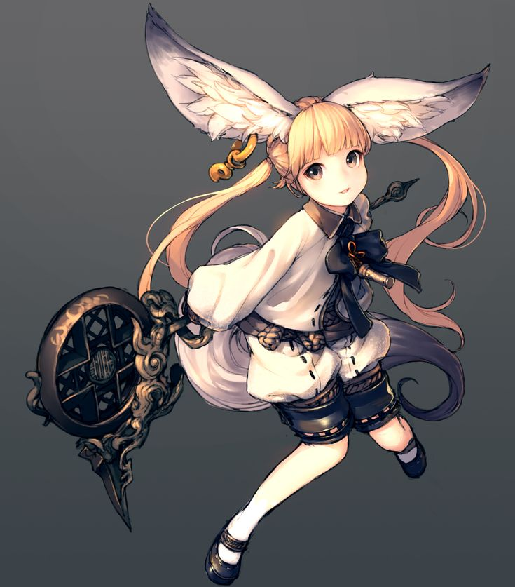 Anime picture 1318x1500 with  blade & soul lyn (blade & soul) junwool long hair single tall image blonde hair looking at viewer twintails brown eyes animal ears tail animal tail grey fox ears fox tail girl earrings shoes staff