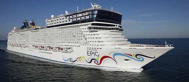 #3 Norwegian Epic, Norwegian Cruise Line.  Gross Tonnage: 155,873 GT Length: 1,081 feet (329 m) Max Capacity: 5,183