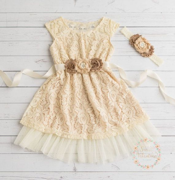 champagne flower girl dress lace baby dress by SweetValentina  The grand daughters dresses!