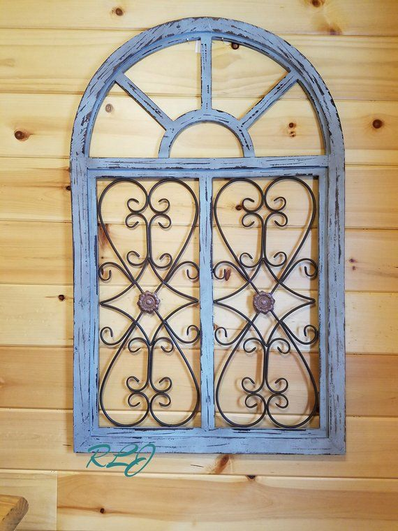 Distressed Rustic Shabby Wood Metal Scrolling Garden Gate Arched Window Wall Panel Home Decor