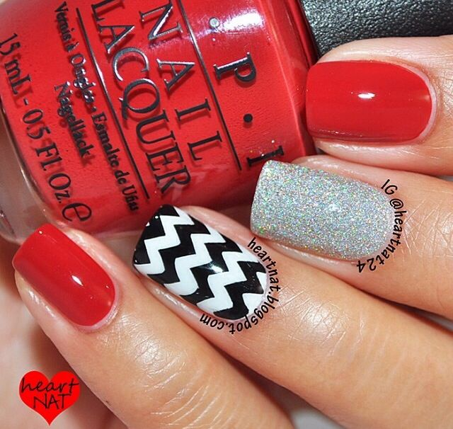 black white silver and red nails nail designs