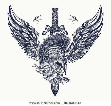 Spartan sword tattoo designs