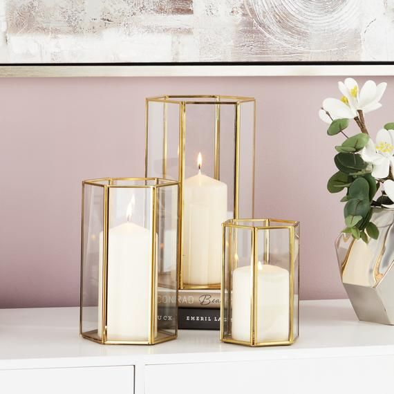 Gold Geometric Hurricane Candle Holder Lantern Etsy Glass Candle Holders Candle Holders Geometric Candles