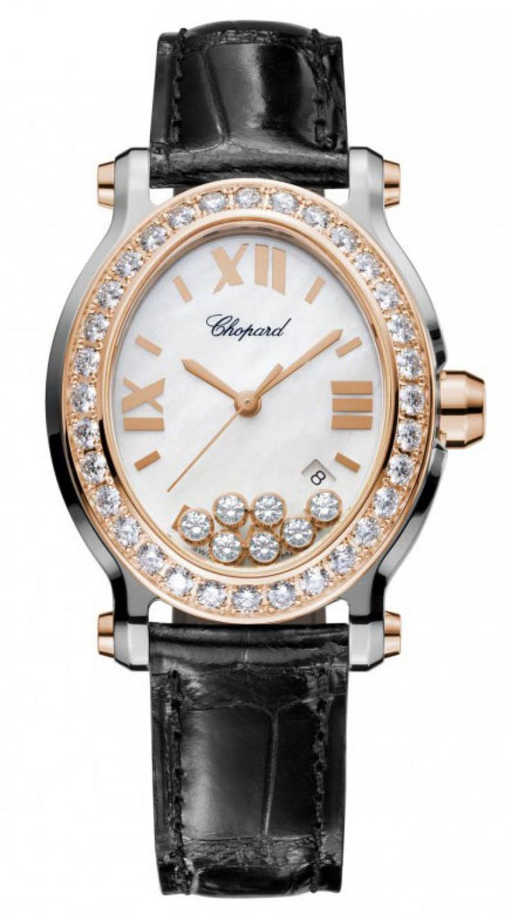 Chopard 278546-6002 Happy Sport Oval 7 Diamonds - швейцарские женские часы наручные, белые, черные