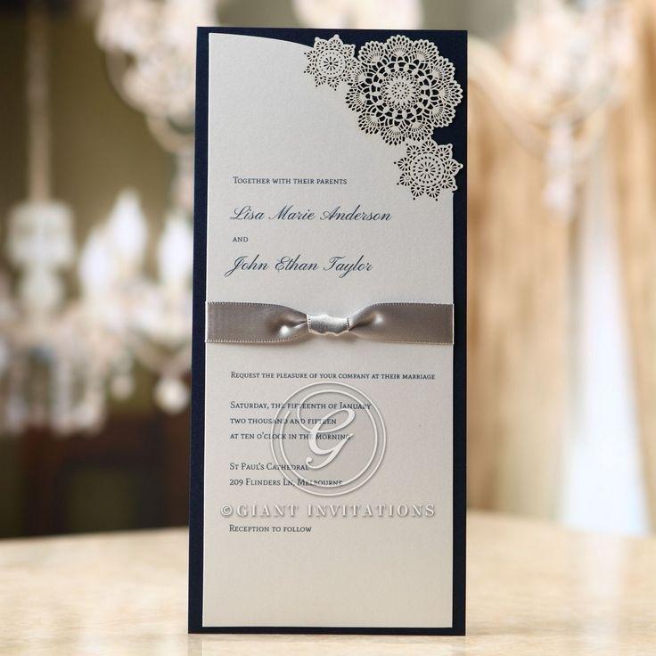 south african traditional wedding invitations samples%0A Black border ribboned invitation