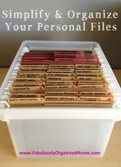 Organization Ideas | Personal Files. #IntuitionSimplicityCurveContest