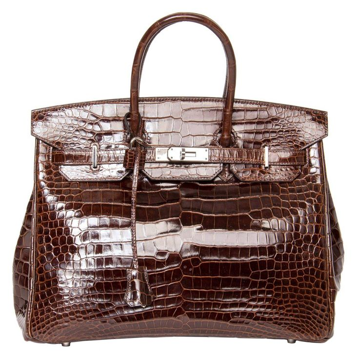 Hermès Birkin Brown Shiny Croco Bag 35 Cm | From a collection of rare vintage top handle bags at https://www.1stdibs.com/fashion/handbags-purses-bags/top-handle-bags/