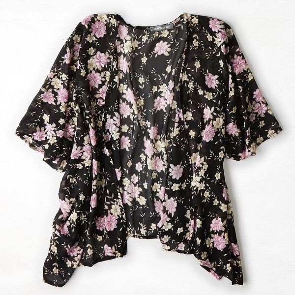 American Eagle Outfitters Don't Ask Why Printed Chiffon Kimono ($40) ❤ liked on Polyvore featuring intimates, robes, kimono, cardigans, tops, outerwear, floral robe, chiffon kimono, black kimono and floral chiffon kimono