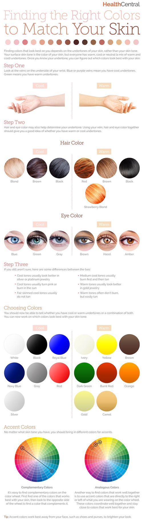 How to find the right colors to match your #skin: (#INFOGRAPHIC) - See more information about your skin and health here: What ever your skin tone choose the right colours for you and look great.