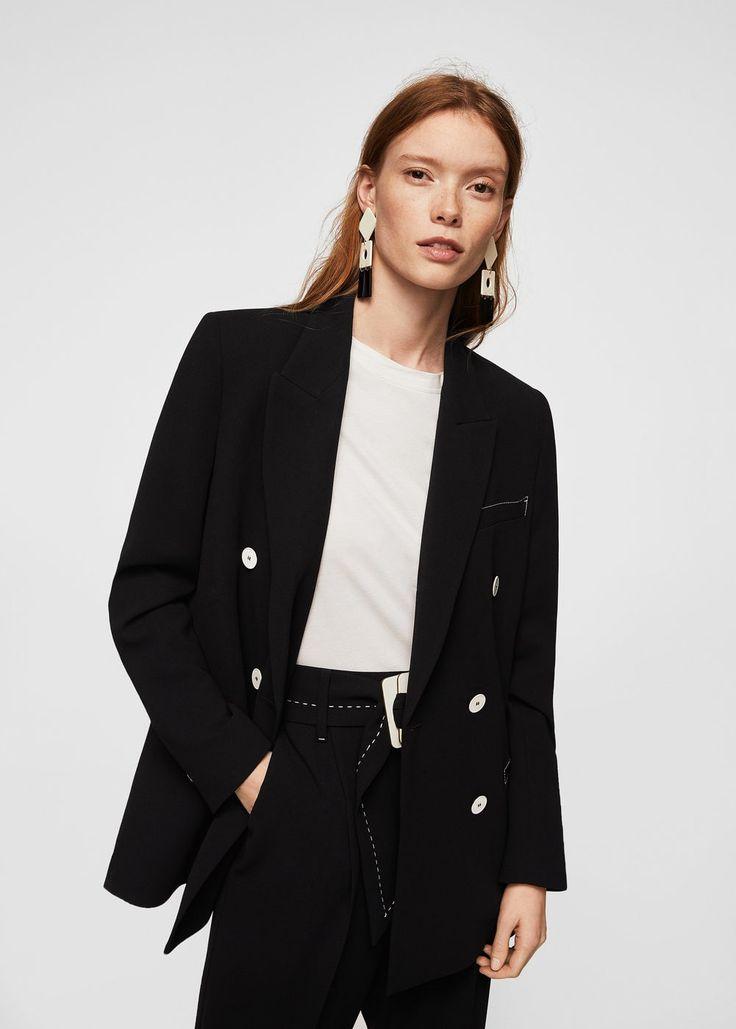 Contrast seam blazer | MANGO