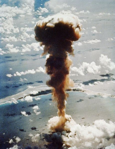 Aerial view of mushroom cloud from atomic bomb Able, Bikini Atoll in the Pacific. Date 1 July 1946