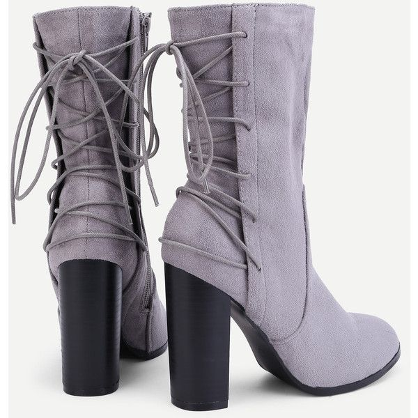 SheIn(sheinside) Lace Up Back Block Heeled Boots ($40) ❤ liked on Polyvore featuring shoes, boots, gray high heel boots, chunky lace up boots, lace up block heel boots, laced boots and block-heel shoes