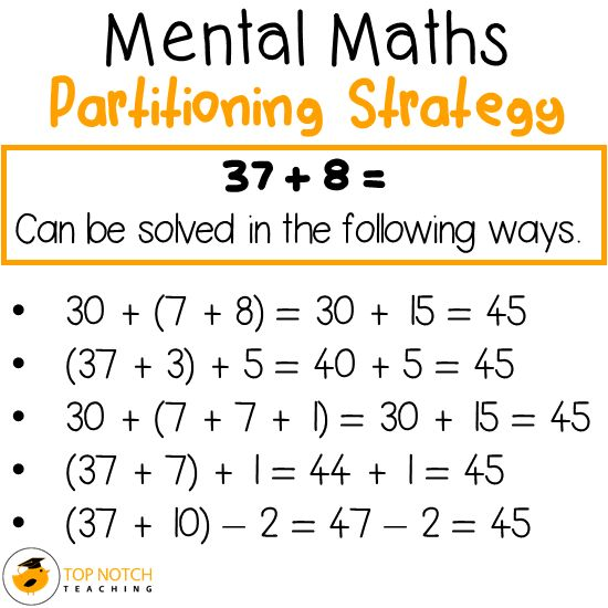 The mental maths strategy of partitioning is useful to use when we add numbers as it breaks the numbers up into parts which simplifies what's being added.