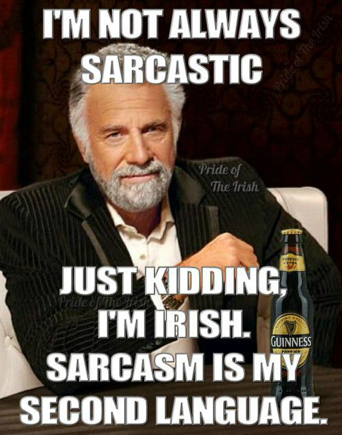 So Funny Sarcastic Meme : Tru irish and sarcastic as hell proud
