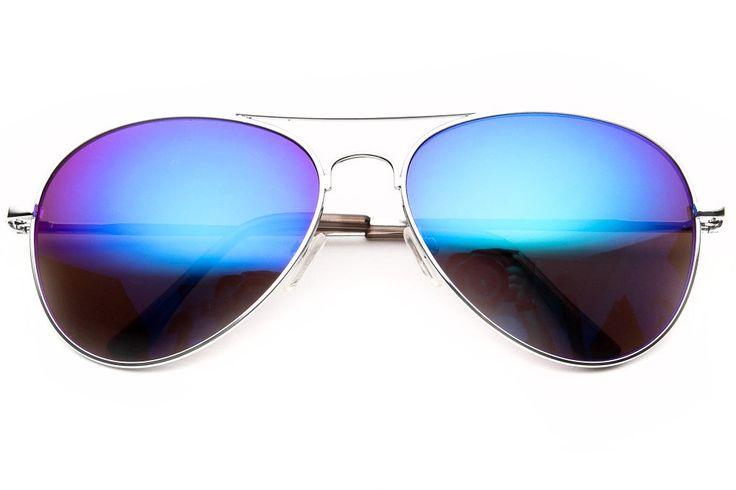 80s Purple Mirrored Aviator Sunglasses