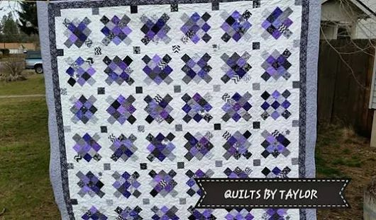 Purple Quilt Black and White Quilt Made To by QuiltsByTaylorDesign