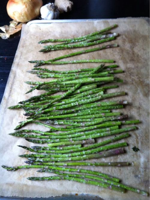 asparagus - season with olive oil, salt, pepper, and parmesan cheese; bake 350 10-15 minutes. Note to self: Adding time in oven does NOT result in more tender stalks, but in stringy exteriors. :P