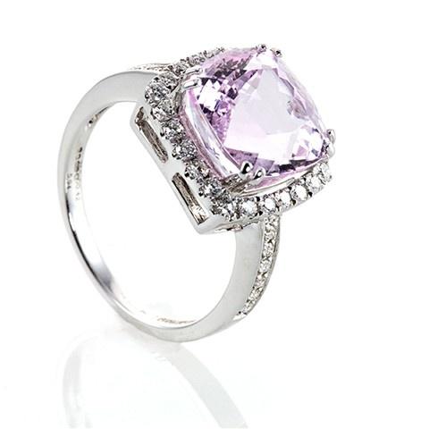 Pink Kunzite and Diamond Ring