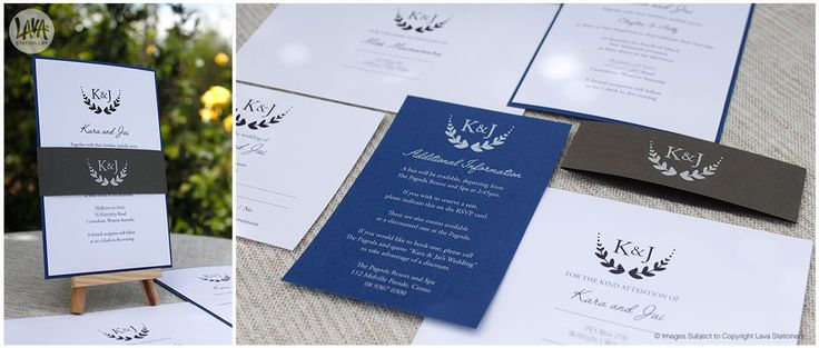Kara and Jau's Wheat Wreath Royal Blue and Graphite Invitation with White Ink Printing and Belly Band - www.lavastationery.com.au